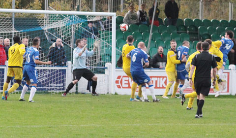 Danny Smith heads home the equaliser. Pic: Dave Birt