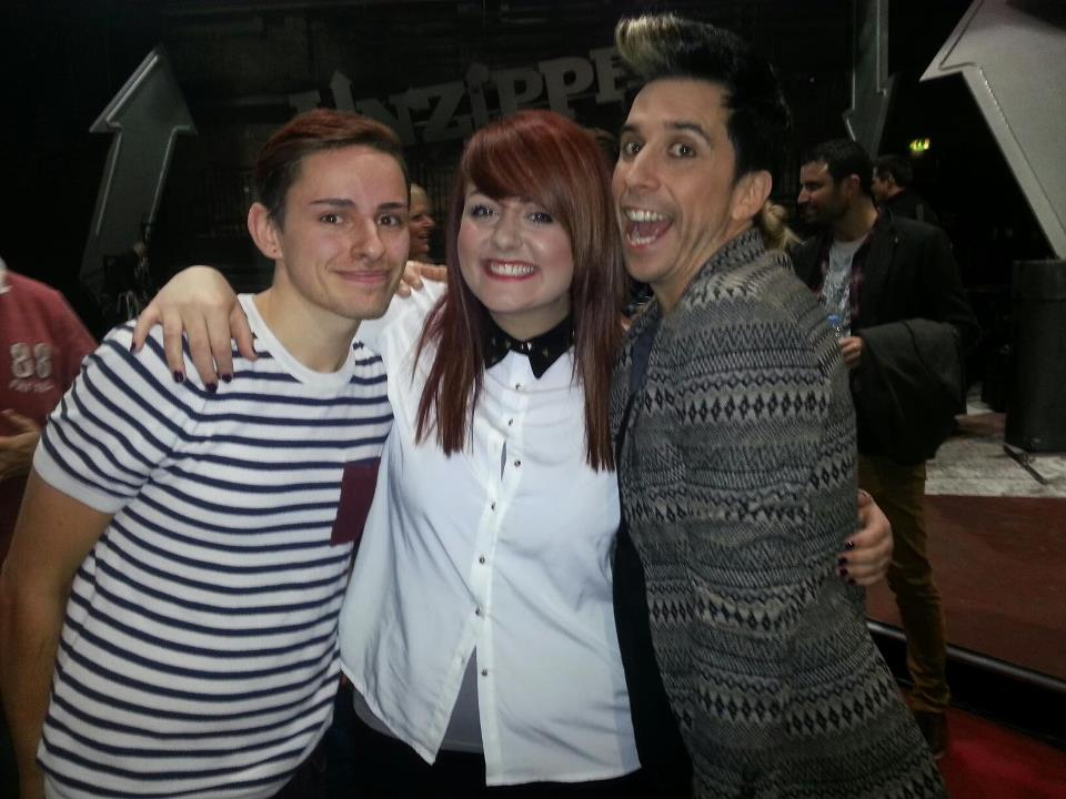 Jamie Protheroe and Victoria Clayton with host Russell Kane on the set of Britain Unzipped