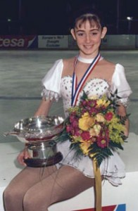 Katie Scarbrough in 1996 after being crowned British Junior Ice Skating Champion