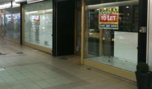 Empty shops at City Arcade