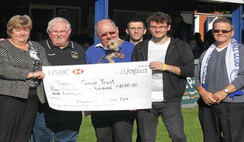 Stephen Sutton receives his latest fundraising cheque from Chasetown FC staff and supporters