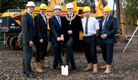 David Clancy, Mark Greasby, John Bates, David Leytham, Carl Allen and Neil Coote get work underway on the new Lichfield city centre hotel
