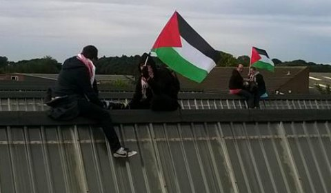 Protesters waving Palestinian flags on the roof. Pic: London Palestine Action