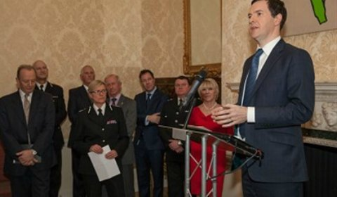 Chancellor George Osborne speaking at a Downing Street reception. Pic: Police Mutual