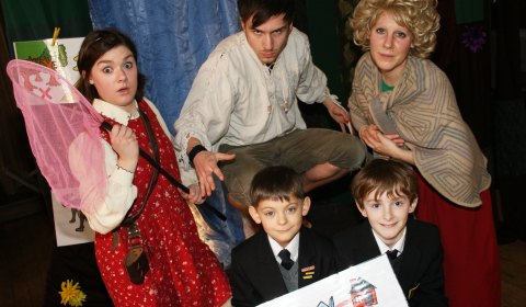 Sarah played by Joanne McGarva, Wolf played by Stephen McCombe and Mum played by Miriam Buckeridge with pupils Christian Carr and Zack Gambrell
