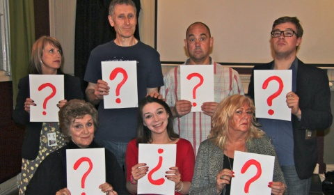 Sarah Stanley, Ian Davies, Adrian Venables, James Bentley, Gina Martin, Lucy Bishop and Jan Goodwin from the Lichfield Players