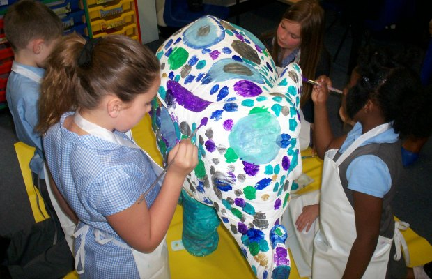 Blue Coat School in Walsall decorating their Lichfield Festival elephant