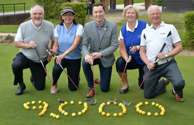 Syd Langlands (past club captain), Helen Telford (past lady captain), Aaron Coleman (St Giles Hospice), Jill Anson (current lady captain) and Rob Taylor (current club captain)