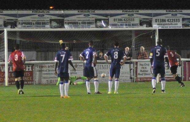 Evesham's Matt Sysum scores from the penalty spot. Pic: Pamela Mullins