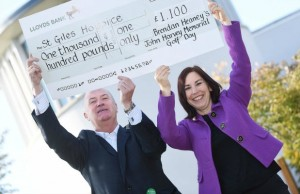 Brendan Heaney with St Giles Hospice Group's chief executive Emma Hodges