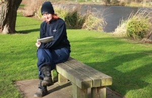 Ruth Witczak, community & education officer, penning poetry in Beacon Park