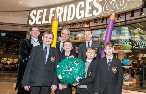 Maple Hayes students Josh Gambrell, Harry Wood, Oliver Esposito and Cody Moore with Jonnie Turpin, High Sheriff of the WestMidlands, Ahead Partnership development director Julian Buttery and Selfridges Birmingham's general manager Adam Hockney