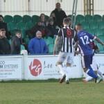 Stan Mugisha fires at goal. Pic: Dave Birt