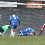 Paul Sullivan closes in on a loose ball in the box. Pic: Dave Birt