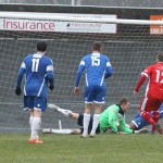 Chasetown go 2-1 in front as Paul Sullivan finds the net. Pic: Dave Birt