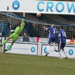 John Bateman is beaten by Dan Shelley's free kick. Pic: Dave Birt