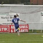 Paul Sullivan's effort hits the net. Pic: Dave Birt