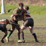 Sean Latham is tackled. Pic: Joanne Gough