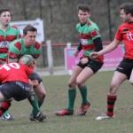 Ian Jones feels the full force of a tackle. Pic: Joanne Gough