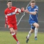 George Washbourne battles for the ball. Pic: Dave Birt