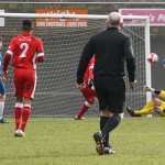 Jordan Cole nods Newcastle Town in front. Pic: Dave Birt