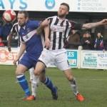 Paul Sullivan battles for the ball. Pic: Dave Birt