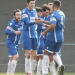 The Newcastle Town players celebrate taking the lead. Pic: Dave Birt