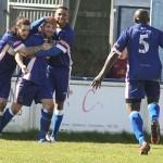 Team-mates congratulate goalscorer Paul Sullivan. Pic: Dave Birt