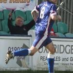 Goalscorer James Dance celebrates. Pic: Dave Birt