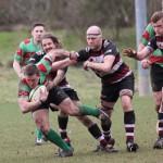 Ian Jones tries to stay on his feet. Pic: Joanne Gough