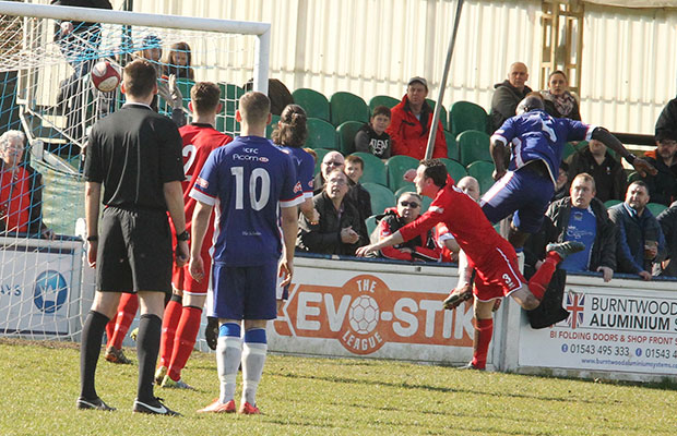 The ball finds the net after Henry Eze's powerful header. Pic: Dave Birt