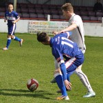 George Washbourne battles for the ball. Pic: Pamela Mullins