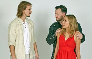 Eoin Edwards as Jesus, Victoria Beck as Mary and Phil Bourne as Judas in Lichfield Operatic Society's Jesus Christ Superstar