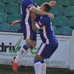 Paul Sullivan celebrates with goalscorer Nick Turton.Pic: Pamela Mullins