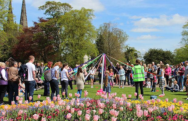 Maypole dancing in Museum Gardens. Pic: Ken Webb