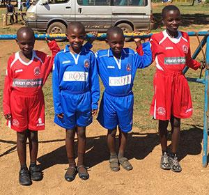Young footballers in Uganda