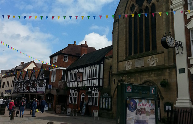 The new bunting outside the Lichfield Guildhall