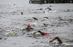 The Staffordshire Ironman swim at Chasewater. Pic: Godden Photography
