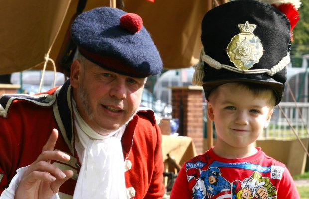 A young visitors meets a soldier from the past at the Staffordshire Regiment Museum