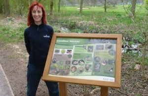 Ruth Witczak with the woodland habitat board in Beacon Park