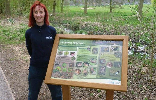 Ruth Witczak with the woodland habitat board in Beacon Park