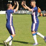 Congratulatons for Chasetown goalscorer Mitchell Piggon. Pic: Dave Birt