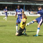 James Dance fires towards goal. Pic: Dave Birt