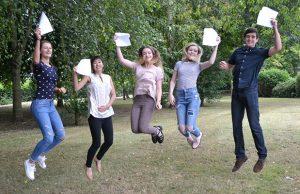 Natalia Bialasinska, Leika Nell, Tara Best, Rebecca Hutchings and Matthew Lovell celebrating their results