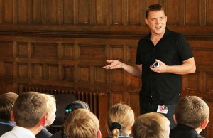 Comedian Michael Fabbri talking to pupils at Maple Hayes Dyslexia School