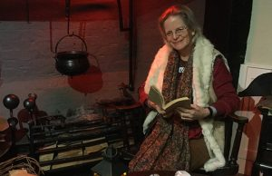 Sarah Dale getting ready for the Christmas Eve storytelling at the Samuel Johnson Birthplace Museum