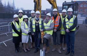 The sod-cutting ceremony at the Lichfield One development