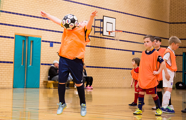 A football coaching session at Burntwood Leisure Centre
