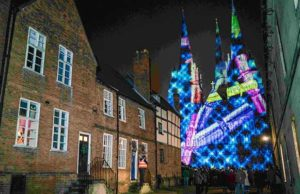 The light display on Lichfield Cathedral