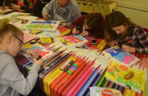 Fun Club members taking part in a graffiti workshop